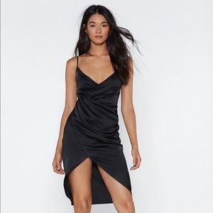 Nasty Gal black satin dress